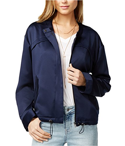GUESS Womens Full-Zip Solid Bomber Jacket Blue XL