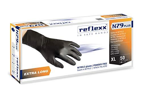 Reflexx N79P/L Guanti in Nitrile senza Polvere, Nero, 50 pezzi