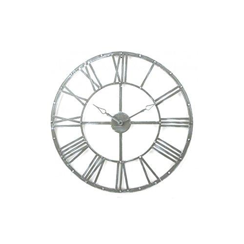 GRANDE orologio da parete in metallo stile vintage - diametro 70cm - Colore GRIGIO .