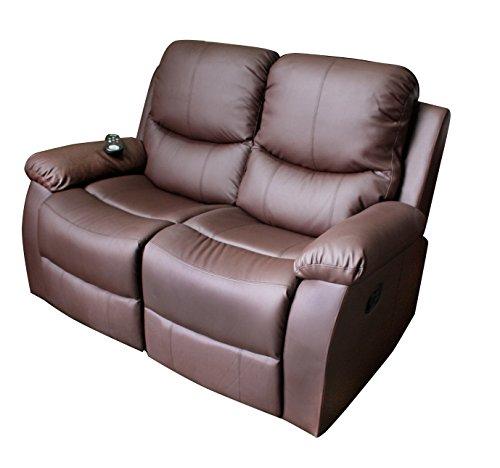 ECO-DE Divano Massaggiante a 2 Posti Vibraluxe Color Marrone Cioccolato Divano con Funzione Massaggio Totale ECO-8200