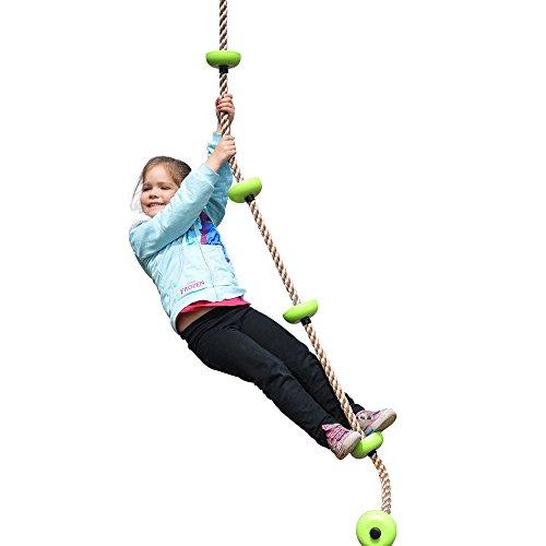Eggdel cuerda de escalada para los 1,8 millones de niños con usos múltiples Nodo plástico de carga máxima de 70 kg Verde