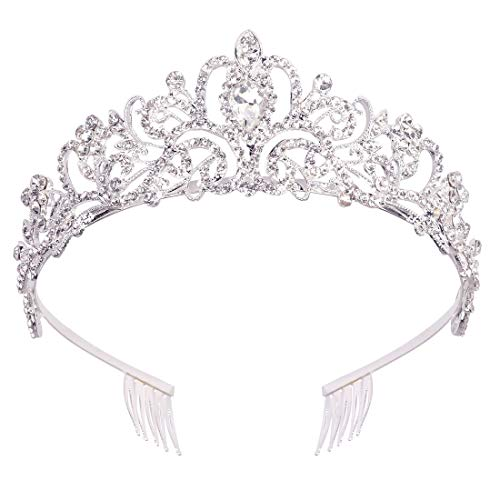 didder silver crystal tiara crown headband princess elegant crown with combs for women girls bridal wedding prom birthday party