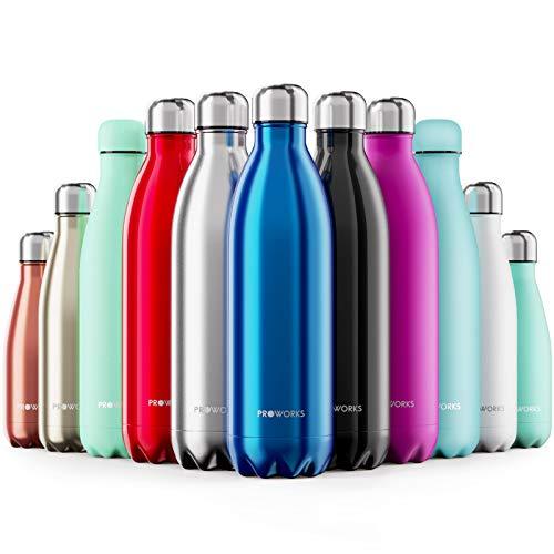 Proworks Edelstahl Trinkflasche | 24 Std. Kalt und 12 Std. Heiß - Premium Vakuum Wasserflasche - Perfekte Isolierflasche für Sport, Laufen, Fahrrad, Yoga, Wandern und Camping - 350ml - Blau