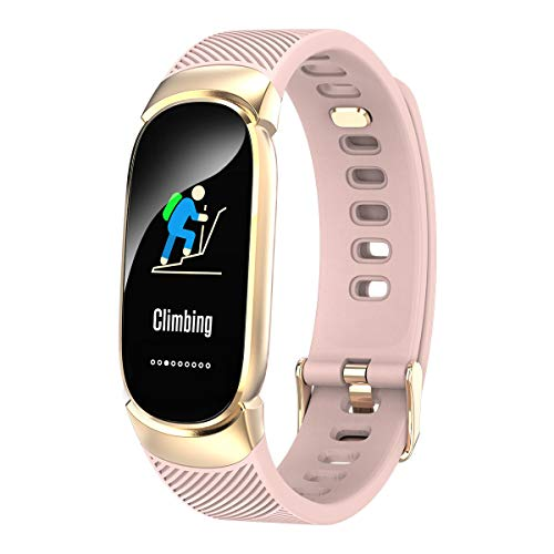 Smart Sports Bracelet Color Screen Continuous Heart Rate Sleep Monitoring Waterproof Step Information Reminder Bracelet for Women (Pink) (Pink)