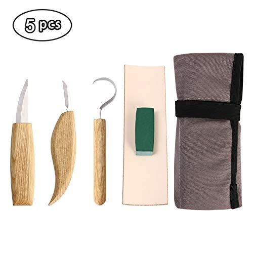 flintronic® Schnitzmesser, 5PCS Holz-Schnitzwerkzeug, Holzschnitzerei Haken Messer Rechtshänder Löffel Schnitzwerkzeuge Grundlegendes gekrümmtes Messer für Schnitzlöffel Schalen und Tassen