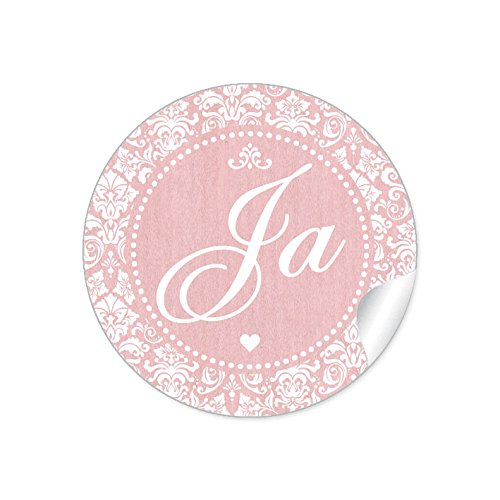 """24 STICKER: Romantische Hochzeitsaufkleber\""""JA\"""" im\""""Shabby Chic gestreiften Packpapier Retro Look\"""" mit Herz und Ornamente (4 cm, rund, matt) Für Gastgeschenke oder Tischdeko zur Hochzeit in Rosa"""