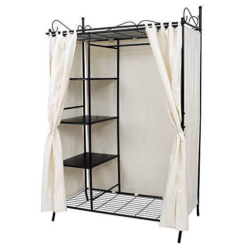 SONGMICS Metall Kleiderschrank Faltschrank Garderobenschrank mit Vorhang 170 x 108 x 58 cm RTG03H
