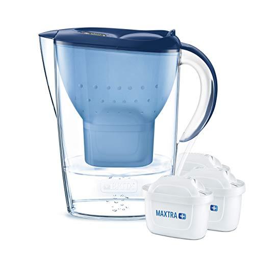 BRITA Marella Confezione base Caraffa con filtro acqua , include 3 MAXTRA +, Blue - Fridge fit