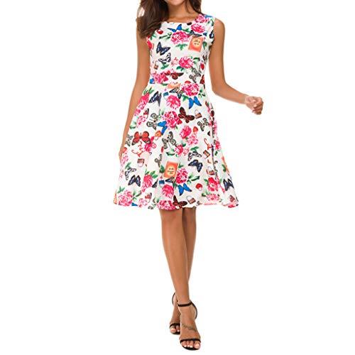 jieGREAT ☘ ,Vestido de Fiesta de Noche sin Mangas con Estampado de Mariposa para Mujer Vestido de Swing