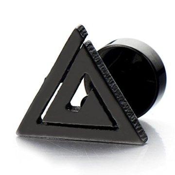 Unisexo Negro Triángulo Pirámide de Egipto, Pendientes de Hombres de Mujer, Acero Inoxidable, 2 Piezas 4