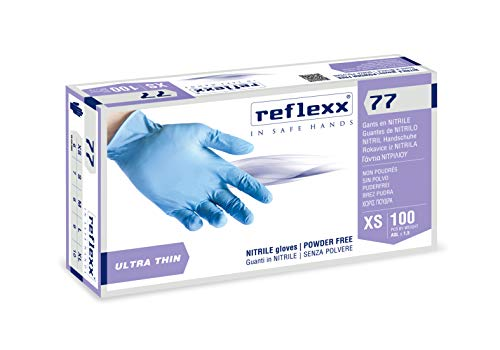 Reflexx R77100, Guanti in Nitrile senza Polvere Gr. 3, 100 Pezzi, Azzurro