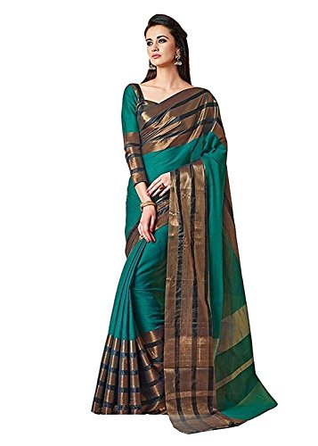 Saree(SRP Fashion Selection Women Cotton Silk Green Colour Saree With Blouse Saree)