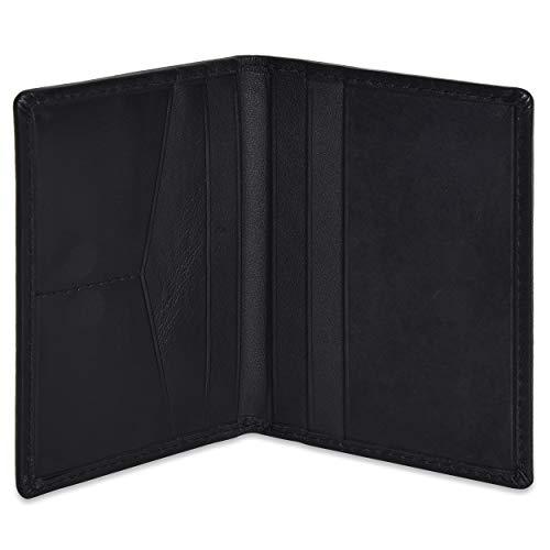 Portlee Premium Leather Bifold Wallet Debit Credit Card Holder Black