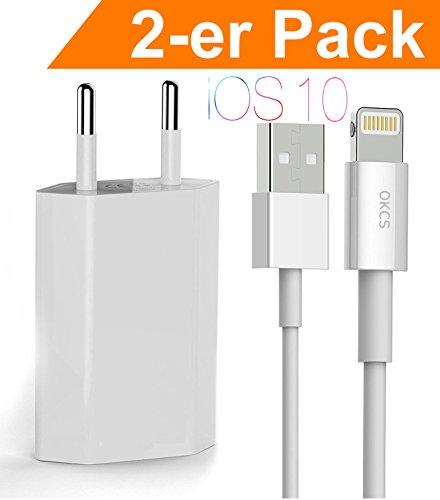 OKCS iPhone Ladeset 2-er Pack - Ladekabel / Datenkabel / Lightningkabel + 1A USB Netzteil für iPhone X, 8, 8 Plus, 7, 7 Plus, 6s, 6s Plus, 6, 6 Plus mit Lightninganschluß - in Weiß