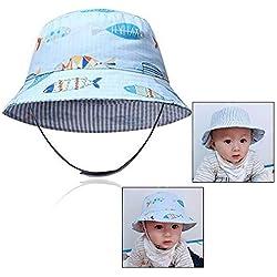 Xrten Sombrero de Sol de algodón para bebés 12-18 Meses, Doble Cara Disponibles