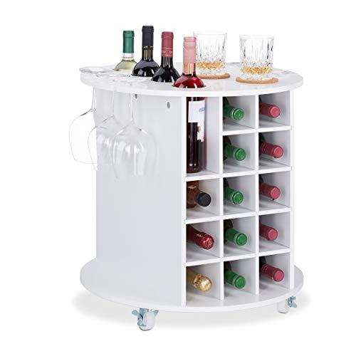Relaxdays Mobile Portabottiglie Vino con Ruote Piroettanti, 6 Portabicchieri, Scaffale per 17...