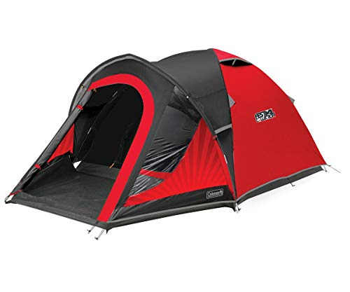Coleman Blackout 3 Dome Tent Polyester 3 Man Camping Tent with Fibreglass Poles, 4500mm (Red/Black)