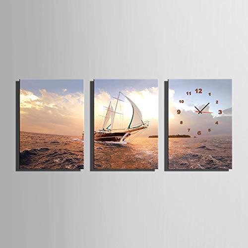 FYBSNDY Barca A 3 Pezzi in Mare con Orologio da Parete Moderno su Tela Dipinto Soggiorno Decorazione della Casa 50 Cm X 70 Cm Senza Cornice