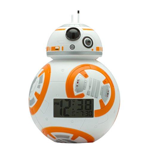 BulbBotz Star Wars 2020503 BB-8 Kinder-Wecker mit Hintergrundbeleuchtung , weiß/orange , Kunststoff , 19 cm hoch , LCD-Display , Junge/ Mädchen , offiziell