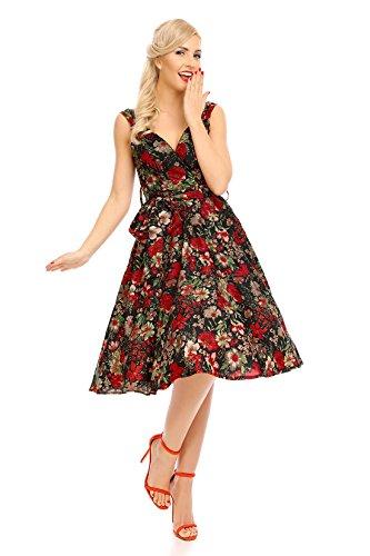 Looking Glam Mujer Retro Vintage Rockabilly pin- Up Vestido Con Vuelo Mariposa Vestido de flores - Rosa Roja, 38