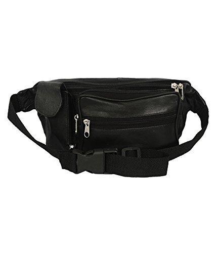 Arrison trendy Mens Ladies Black genuine leather Waist bag bum bag fanny pack travel money belt ID card wallet phone Bag