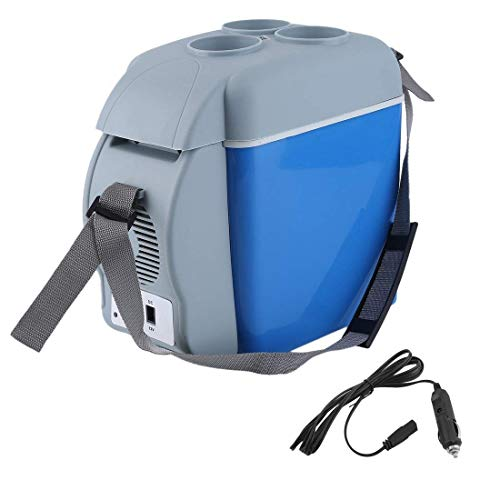 Mix Cart7.5 L Portable Mini Large Capacity Car Cooler&Warmer Heating Cooling 12V Electric Fridge Travel Refrigerator Box with Strap(Blue::White)