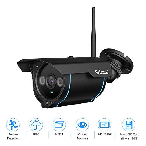 Sricam SP007 1080P Telecamera di Sorveglianza IP Camera WIFI Esterno Videocamere Sorveglianza Supporto NVR Onvif IP66, Visione Notturna, Vista a Distanza Tramite Phone/PC WiFi Esterno Senza Fili Nero