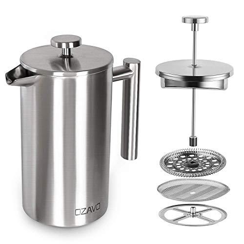 OZAVO Coffee Press Caffettiere a Pistone Pressofiltro Acciaio Inox Capacità 8 Tazze 1 L