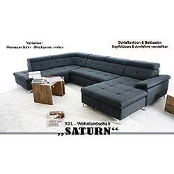 """Wohnlandschaft """"SATURN"""" XXL-Sofa, hell-grau, U-Form mit Schlaffunktion und Bettkasten (Bettkasten rechts (OTM-2F- BK/rec))"""