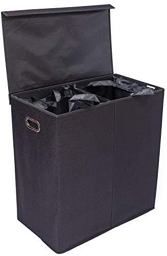 BirdRock Home Wäschekorb mit Deckel und herausnehmbaren Einsätzen., schwarz, Doppelbett