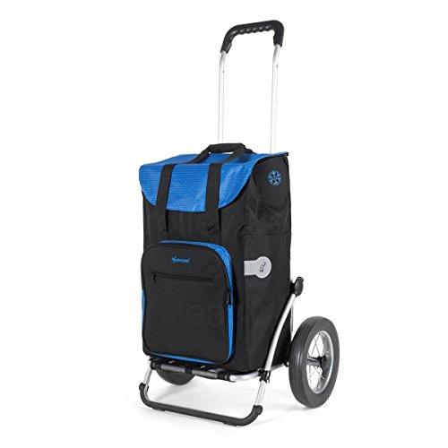 Andersen Einkaufstrolley Royal mit Metallspeichenrad 25 cm und 45 Liter Einkaufstasche Wismar schwarz/blau mit Kühlfach Einkaufswagen Gestell Aluminium klappbar