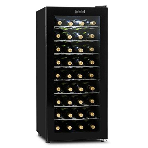 Klarstein Vivo Vino 26 • frigorifero per vini e bevande • 88 L • 26 bottiglie • funzionamento silenzioso • autonomo • sportello in vetro e acciaio inox • illuminazione interna a LED • nero-argento