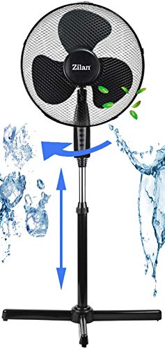 Standventilator | Oszillierender Ventilator | Windmaschine | Klimagerät | Turmventilator | Ventilator | Bodenventilator | Fan | 3 Stufen | Höhenverstellbar | Leiser Betrieb (schwarz Ø41cm)