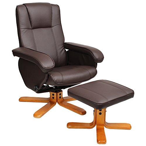 Relaxsessel Sessel TV Wohnzimmersessel Hocker Beinablage Fernsehsessel Drehstuhl (Braun)
