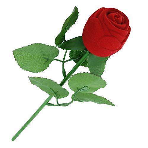 Kala Decorators Quality Velvet Rose Stick Love Ring Box 1 Pc with Leaves for Vanity Box, Wedding Ring Box, Engagement Box, Jewellery Box, Valentine Box