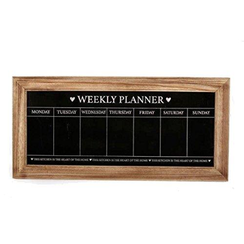 Lavagnetta con agenda settimanale, in stile shabby chic, con cornice in legno naturale