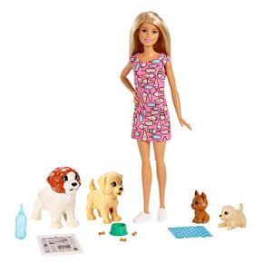 Barbie y su Guardería de perritos, muñeca con mascotas, regalo para niñas y niños 3-9 años (Mattel FXH08)