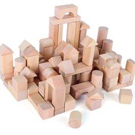 7073 Sacchetto con cubetti da costruzione in legno naturale small foot, cubetti da costruzione di va