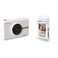 Polaroid Snap Touch cámara digital con impresión instantánea y pantalla LCD (blanco) con tecnología Zero Zink + Polaroid Premium Zink Paper - Paquete de 20 papeles fotográficos (compatibles con Polaroid Snap Z2300, Socialmatic y la impresora móvil ZIP, 5 x 7.6 cm), color blanco