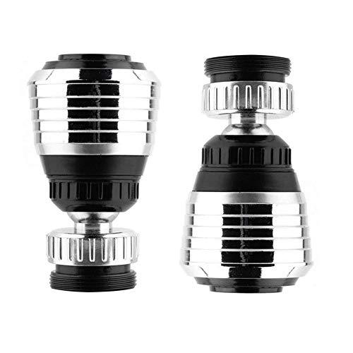 Valschen 2 piezas Aireador de grifo rotativo filtro de espuma que ahorra agua con función de rotación de 360 grados