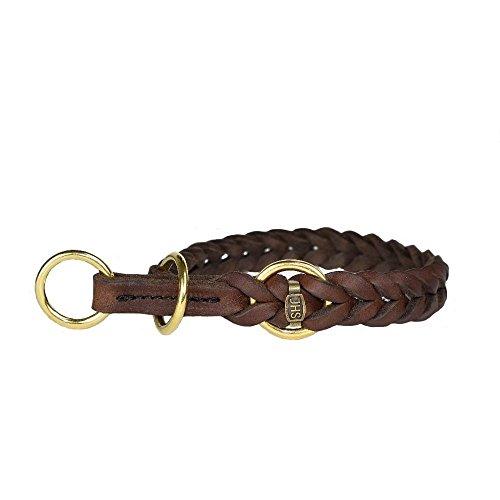 JHS Fettleder geflochten - Hunde Halsband Führleine Schauleine Dressurhalsung (60 cm, Halsband mit Zugstopp)