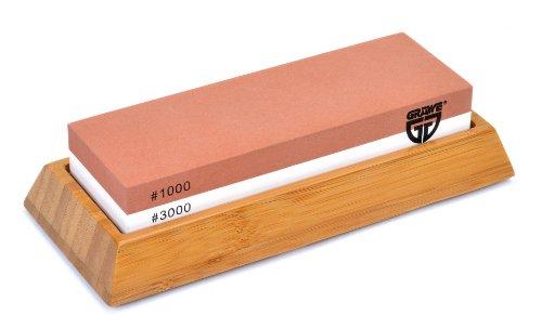 GRÄWE Wetzstein SHARPHOME Körnung 1000 / 3000 mit Halter aus Bambus