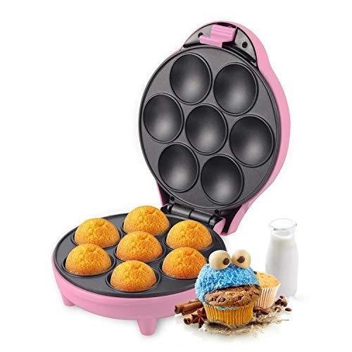Aigostar Popcaker Pink 30CEU - Macchina per Cupcake/Muffin con 7 fori, 700 Watt, Piatti Antiaderenti. Design esclusivo.