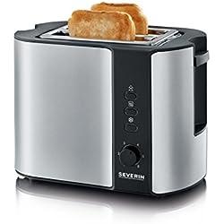 Severin AT 2589 Toaster (800 Watt, 0,1 L) Edelstahl gebürstet/schwarz