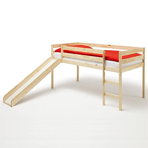 IDIMEX Spielbett Rutschbett Hochbett Bett mit Rutsche Benny für Kinder Kiefer massiv in Natur lackiert 90 x 200 cm (B x L)