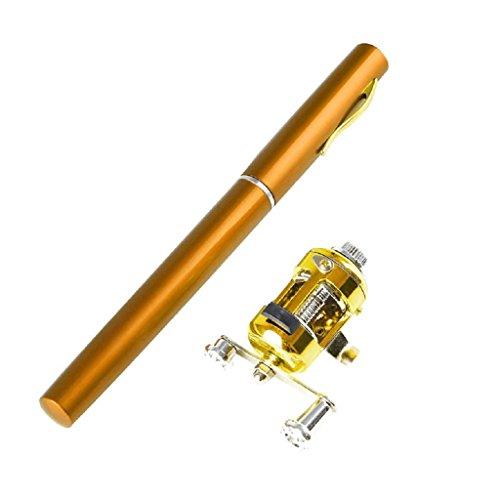 Brucelin - Mini canna da pesca e dispenser portatile, in lega di alluminio, tascabile oro