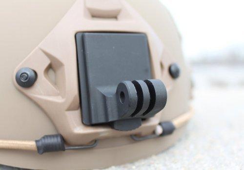 Buwico, Supporto fisso per casco, in alluminio nero, per GoPro HD NVG Mount Base, GoPro 4/3+/3/2/1