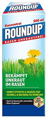 Roundup Rasen-Unkrautfrei Konzentrat, Spezial-Unkrautvernichter zur Bekämpfung von Unkräutern im Rasen mit sehr guter Rasenverträglichkeit, 500 ml für 330 m²