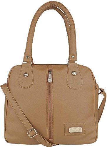 Typify Casual 3-Compartment Shoulder Bag With Sling Belt Women & Girl's Handbag (Brown)