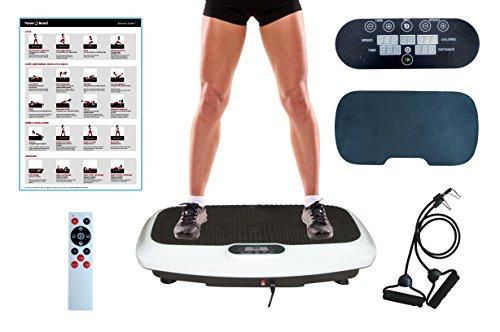 PowerVBoard 2D/3D Vibrationsplatte Starke Vibrationstechnologie | Elegantes Design | Trainingsbänder | Fernbedienung | Übung Poster | Komfortmatte